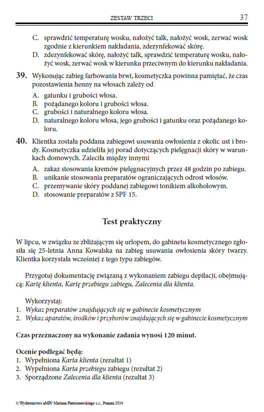 Testy Do Egzaminu Z Kwalifikacji A 61 Wykonywanie Zabiegow